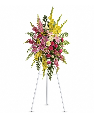 Rays of Light Spray    A lovely composition of flowers such as green roses, gladioli and button spray chrysanthemums, pink spray roses and carnations, light pink oriental lilies and snapdragons are arranged with a mix of beautiful greenery in a standing spray of flowers that's delivered on an easel.    Shop Now>>