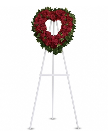 Blessed Heart    A beautiful heart is a wonderful way to share your thoughts of love. Red roses, spray roses, carnations and miniature carnations are arranged with fern and ivy in the shape of a heart.    Shop Now>>