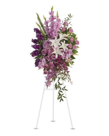 Sacred Garden Spray    Lavender, purple and white flowers like hydrangea, orchids, roses, oriental lilies and more create a beautiful spray. A wonderful tribute.    Shop Now>>
