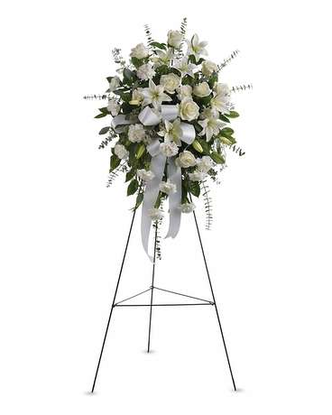 Sentiments of Serenity Spray    The elegant spray includes white roses, white Asiatic lilies and white carnations, accented with assorted greenery.    Shop Now>>