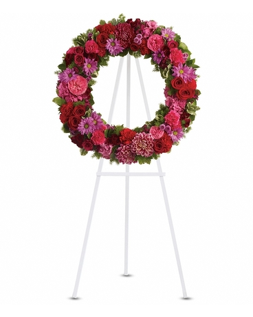 Infinite Love    Dazzling pink hydrangea, hot pink roses and carnations, red roses, spray roses and carnations, burgundy dahlias, dark pink Sweet William, lavender daisy and button spray chrysanthemums along with fern and other fresh greens    Shop Now>>