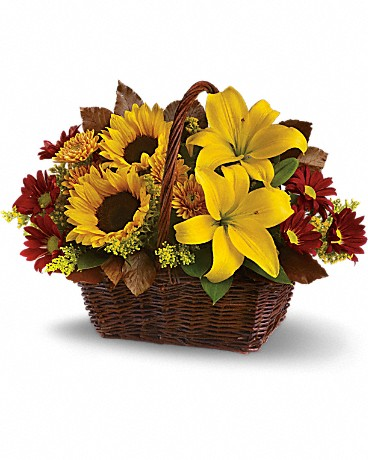 Golden Days Basket    Just send this delightful basket of fresh fall flowers to someone who's on your mind and you can be sure it will lift their spirits! Sunny sunflowers and asiatic lilies, red roses, gold and burgundy chrysanthemums, solidaster, brown copper beech and salal are splendidly arranged in a wicker basket. Send it and you'll be golden, too.    Buy Now>>