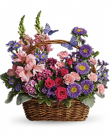 Country Basket Blooms    It's no wonder two pretty butterflies have made this basket their home. Hot pink spray roses, light pink alstroemeria, snapdragons and miniature carnations, dark pink Sweet William, purple matsumoto asters, large monte cassino asters, statice and pittosporum fill a pretty picnic-like basket. You've got this gift handled!    Buy Now>>