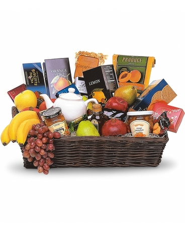 Grande Gourmet Fruit Basket    When you want to send your thoughts in a grande way, send this basket filled with fresh fruit, biscuits and tea. Nothing's grander. Fresh fruits, biscuits, chocolates and teas, along with a charming teapot, arrive in an impressive wicker tray    Buy Now>>