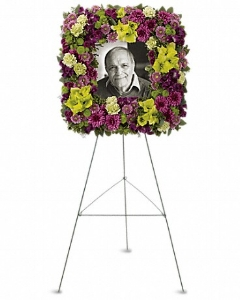 Square Easel Wreath    Purple alstroemeria, green gladioli, green carnations, purple cushion spray chrysanthemums, lavender button spray chrysanthemums, green button spray chrysanthemums and purple button spray chrysanthemums, accented with assorted greenery.    Buy Now>>