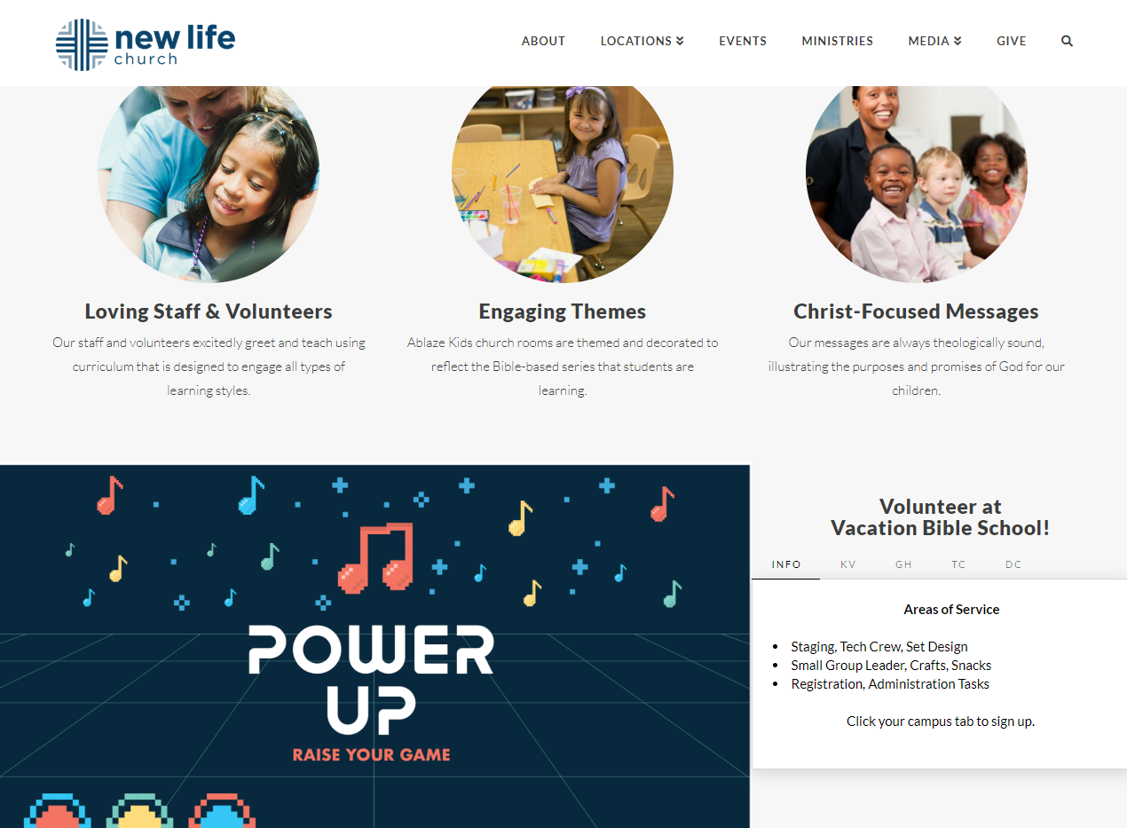 New Life Church requested website updates and project management. From January 2018 to March 2019, I created the website content for ministry teams and events. For this position, I utilized SEO, plug-ins, and many other Wordpress features. Find the published site  here .
