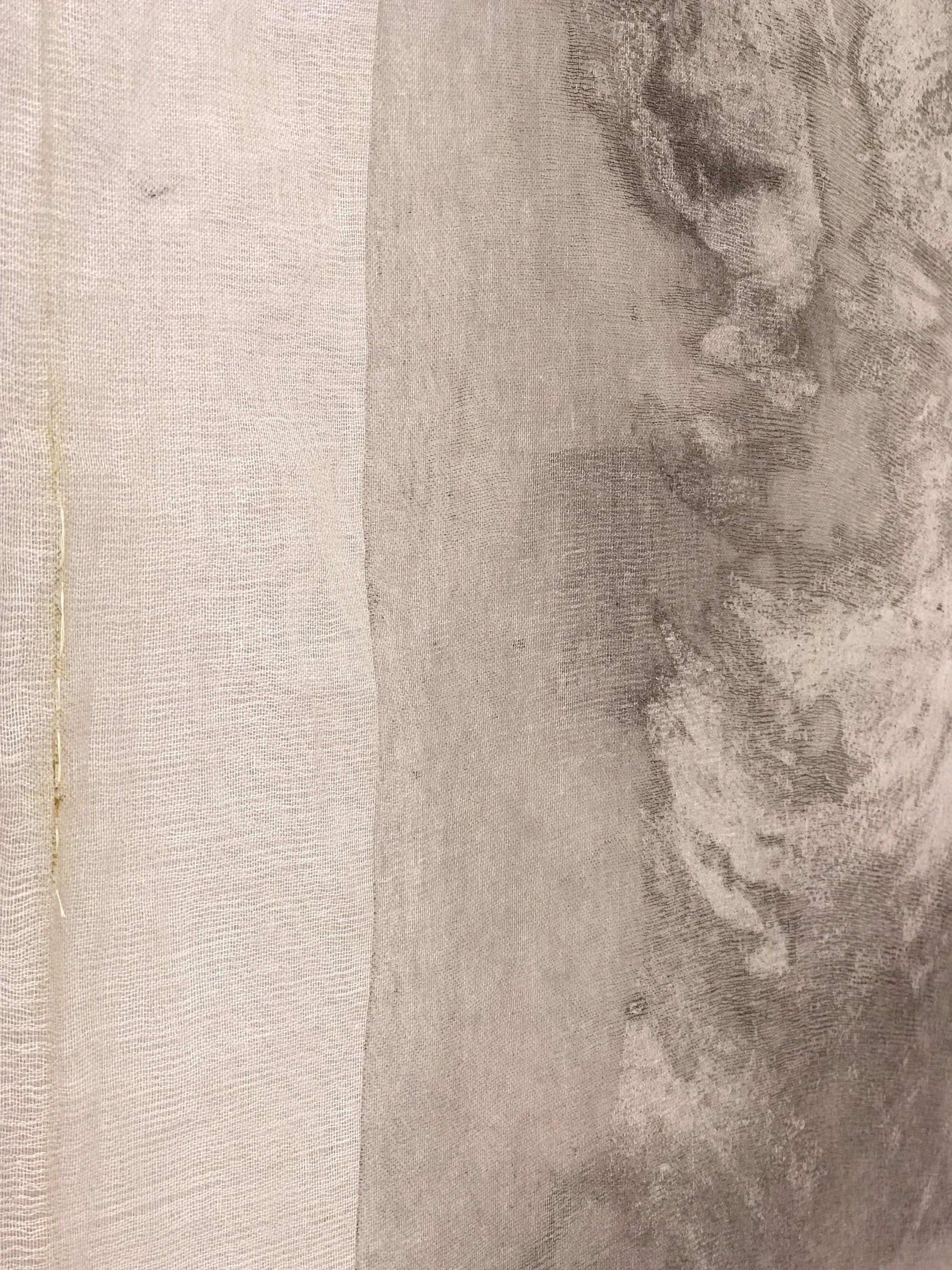 """She is Gone,"" 65"" x 37"", collograph carborundom print on tarleton, hand dyed silk charmause, thread, glue, poplar  DETAIL"