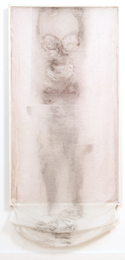"""She is Gone"", 65"" x 37"", collograph carborundom print on tarleton, hand dyed silk charmause, thread, glue, poplar"