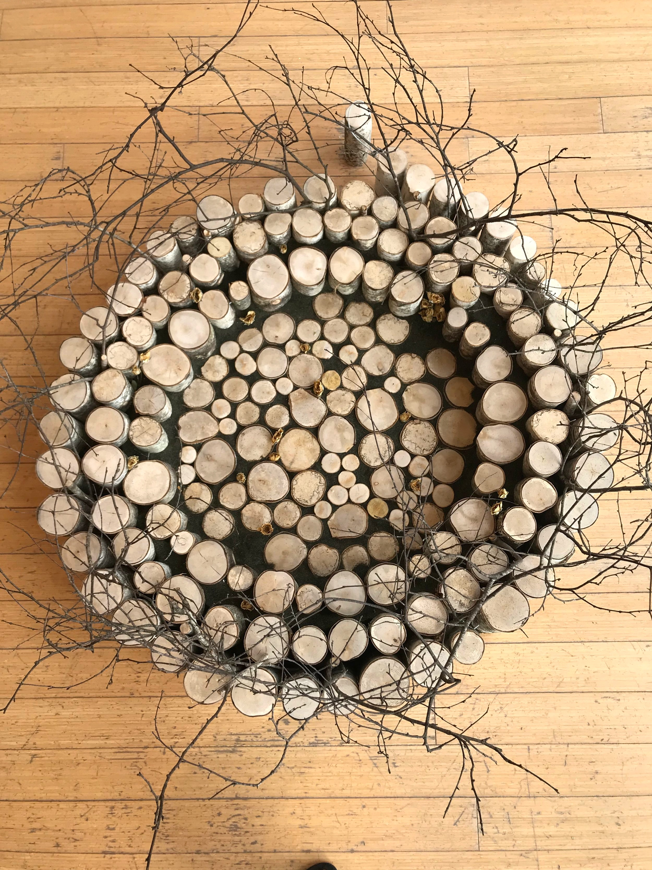 """""""Our Connectedness"""", 45"""" x 30"""", birch fallen in tornado, steel cable black silica sand, dried rose buds"""