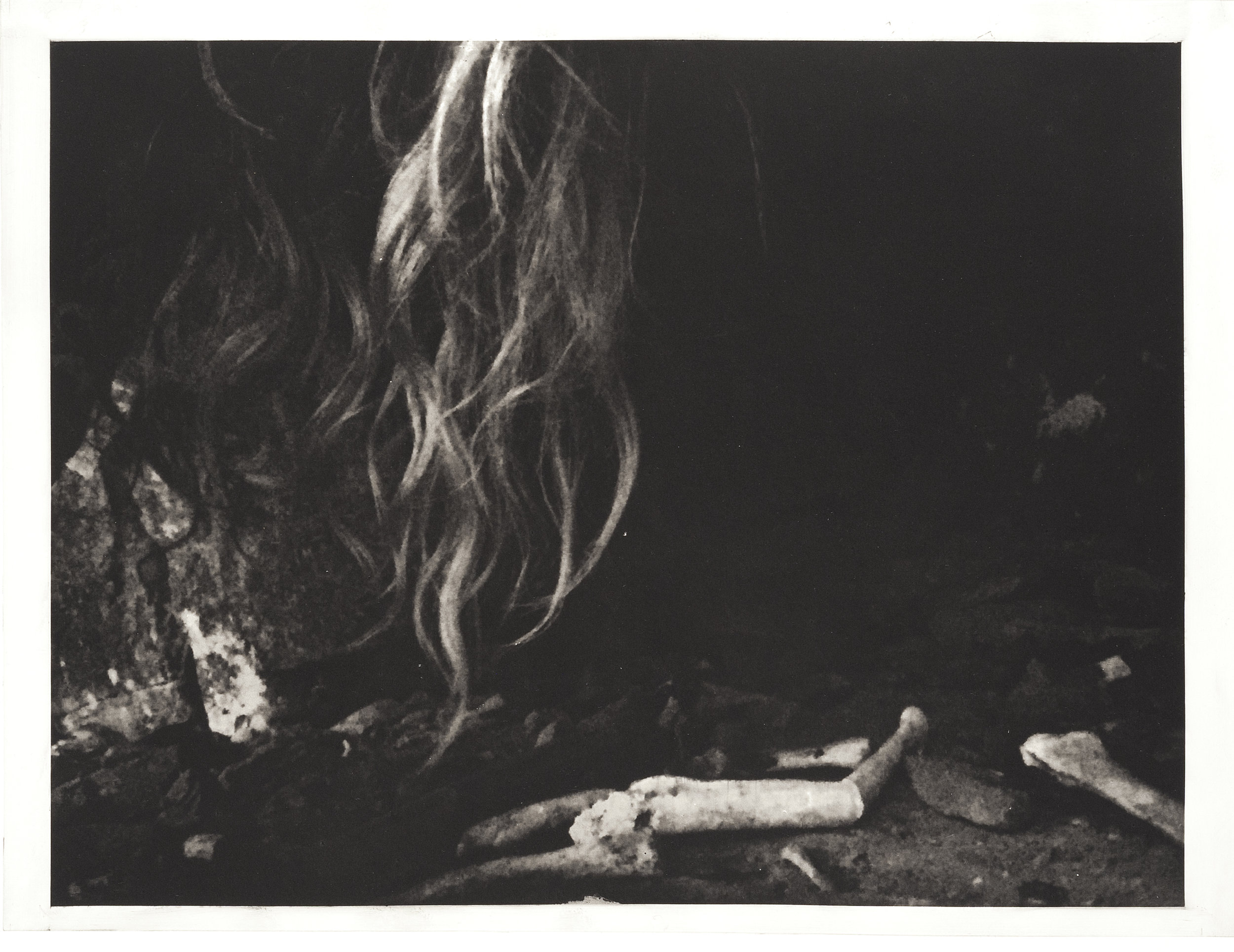 """""""Hair and Bones"""", 22"""" x 30"""", photogravure of cave on my land with hair and bones"""