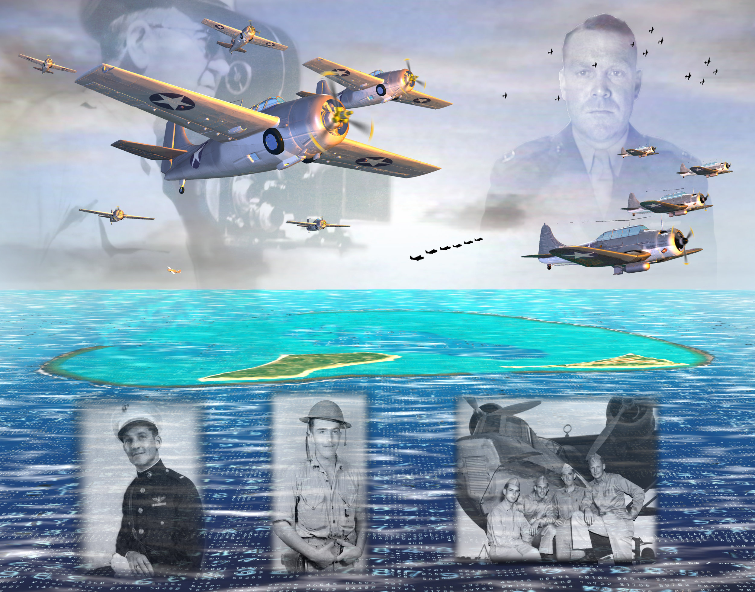 Battle of Midway Memorial detail, Part II: Midway Defenders, 2001
