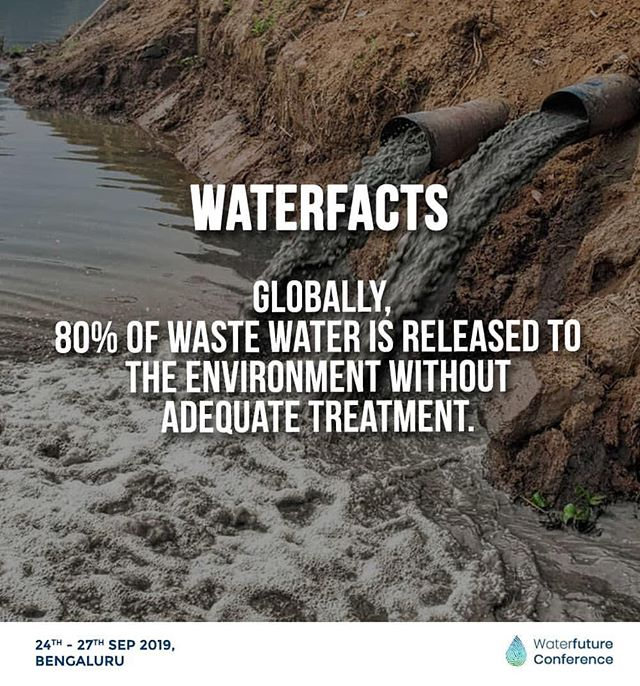 Good water quality is essential to human health and ecosystem. More than just an alternative source of water, safe wastewater management could help protect our ecosystems and give us energy, nutrients for our health!  Currently, 80% of the waste water is released to the environment without treatment!  Read more: https://www.unwater.org/water-facts/quality-and-wastewater/ . . Water Future Conference 2019 - Towards a sustainable water future! . . . . . . . . #waterfuture #waterfutureconference #sustainablewaterfuture #sustainability #waterconservation #futureearth #bangalore #ecofriendly #sustainable #sustainableliving #sustainablelife #unitednations  #climatechange #climatechangeisreal #griffithuniversity #worldwaterday #worldwaterassessmentprogramme #incredibleindia #unesco #divechacentreforclimatechange #iisc #iiscbangalore #ecoliving #ecofriendlyliving #ecotourism #environmentalscience #sdggoals #everydayclimatechange #sustainabledevelopmentgoals #sustainabledevelopment