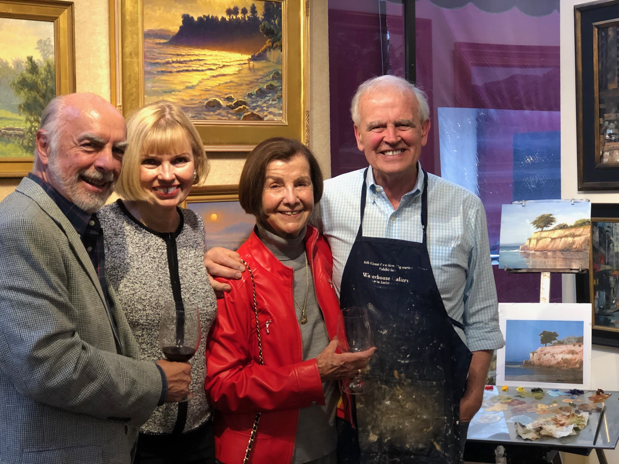 "Left to right:  Trustee and evening auctioneer, John Doordan, host Diane Waterhouse, Gillian Launie,  Ralph Waterhouse and ""Quick Draw"" painting."