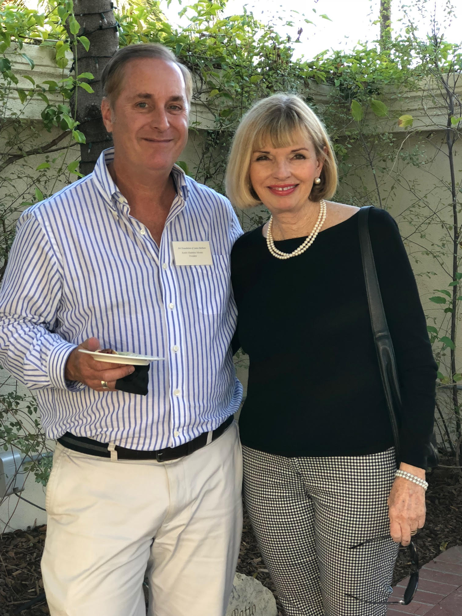 Left to right:  Keith Mautino Moore, President and Trustee and Diane Waterhouse, Advisory Board Member  who helped organize the Art Exhibition.