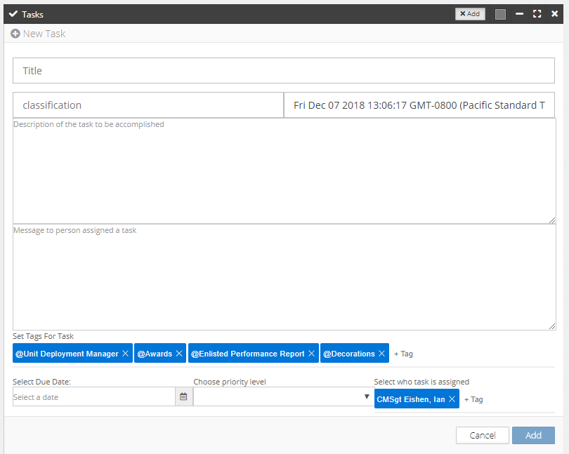 -Dashboard showing tags and tagging users to assign tasks