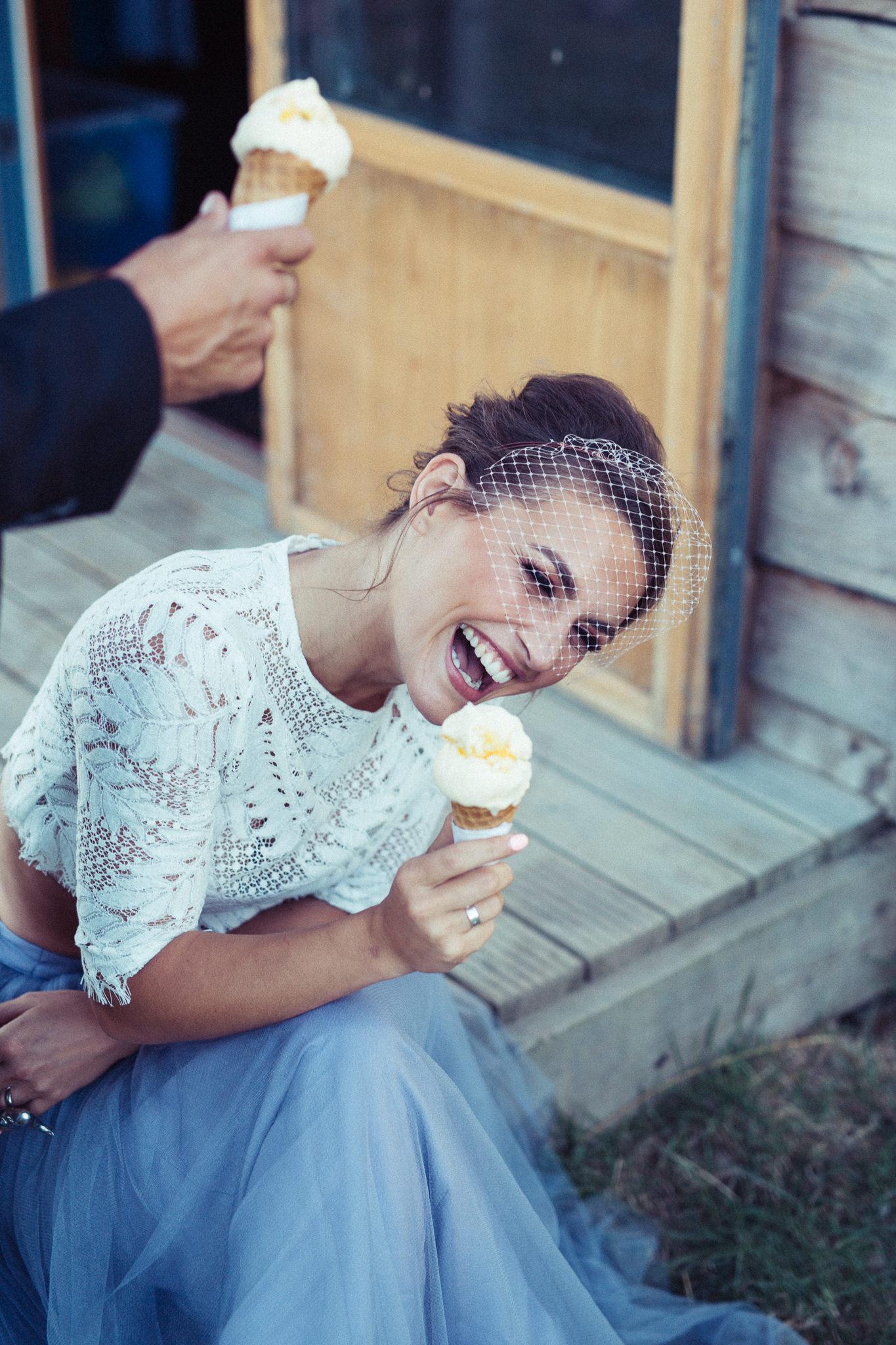 Happy bride with ice cream | Image courtesy of Adj Brown