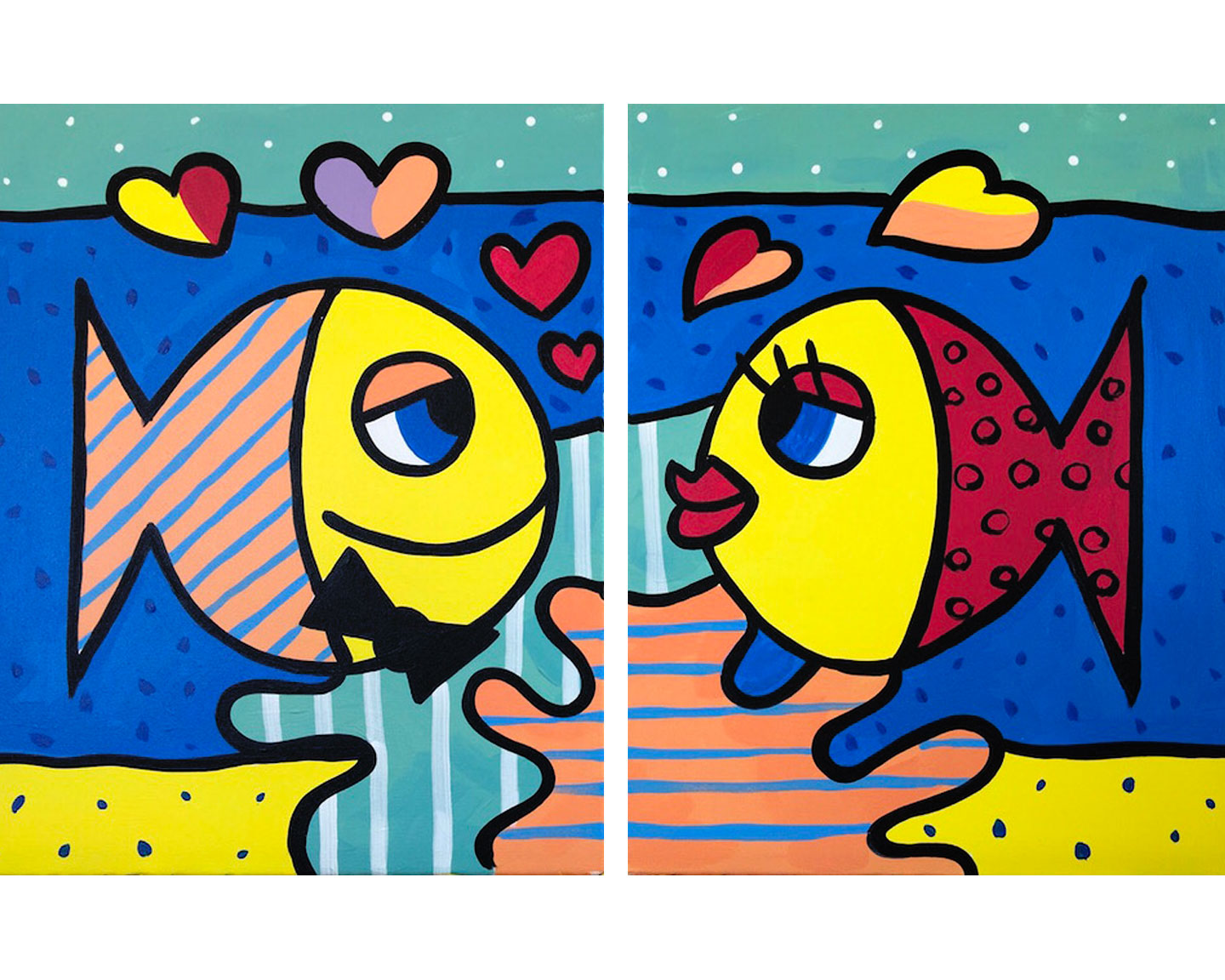 Kissing Fish Couples Painting (2.5 hours)