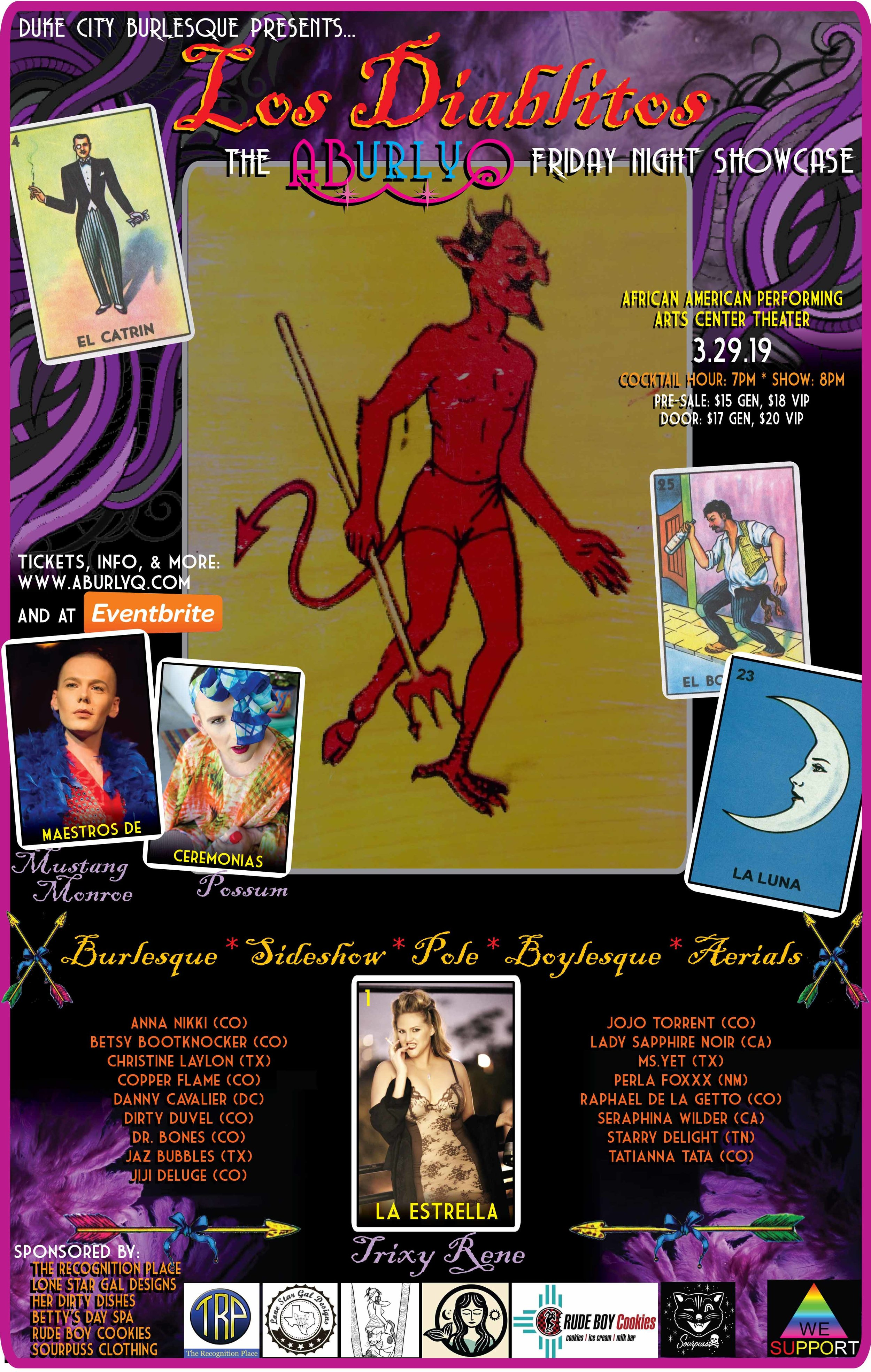 Friday Night - LOS DIABLITOS// Starring: Trixy Rene //Competition Categories:+ Best Boylesque+ Best of the Sideshow Arts+ Best Nerdlesque