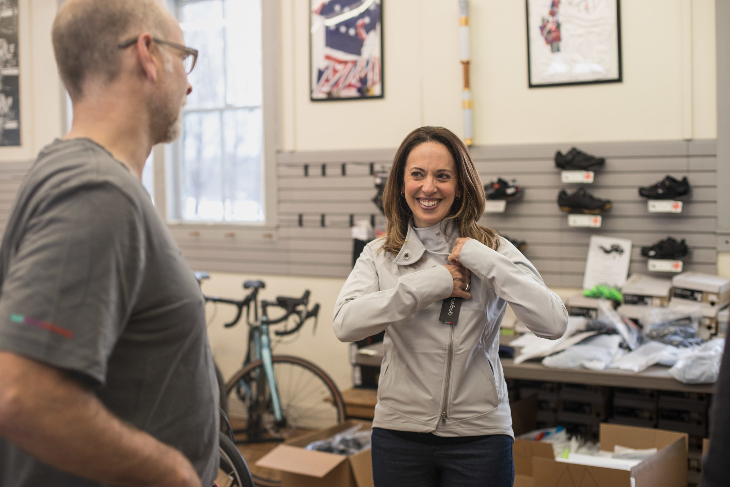 Jen Barden and Dick Drummond at the  Velocio  Warehouse Sale 2018