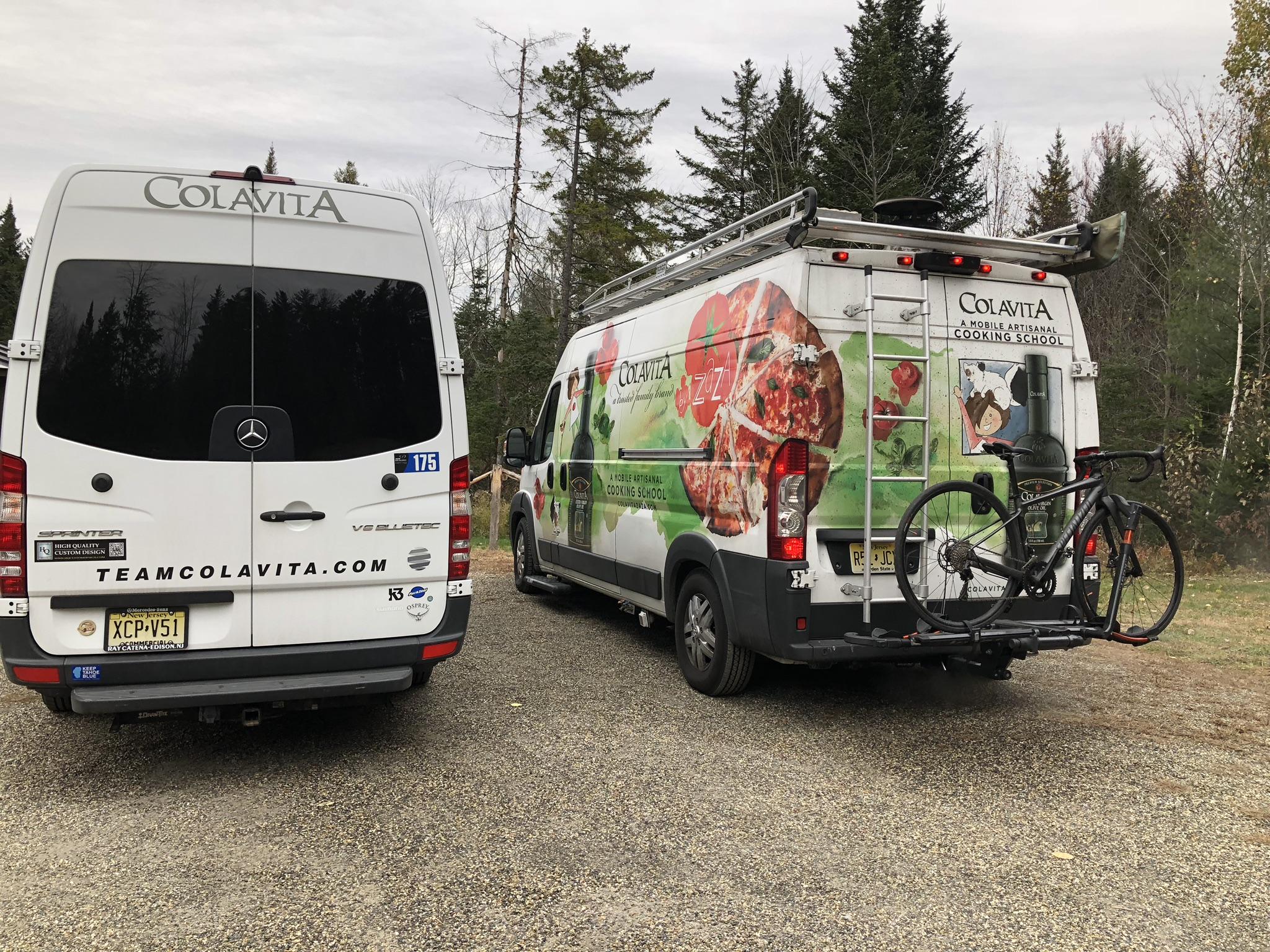 pizza van on the right, mobile repair van on the left. photo credit: colavita