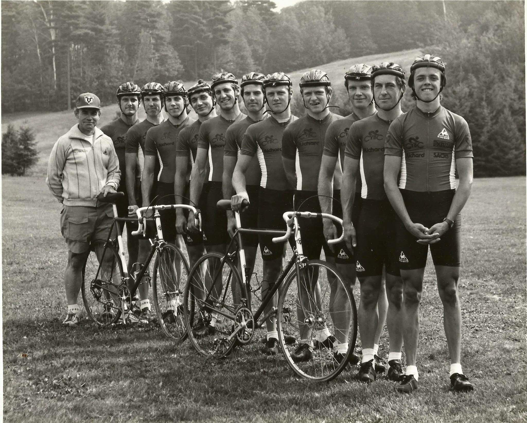 "Martin, second to last, and his brother, Michael, second to the front, at Lake Sunapee Stage Race. ""Lake Sunapee was one of the most incredible races on the East Coast race calendar. The Who's Who of American cycling participated in it over the years. Many of the most amazing bicycle races are no longer held."""