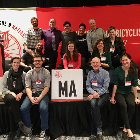 Monique Trammell, middle row, at right, with Mass Bike at the National Bike Summit.