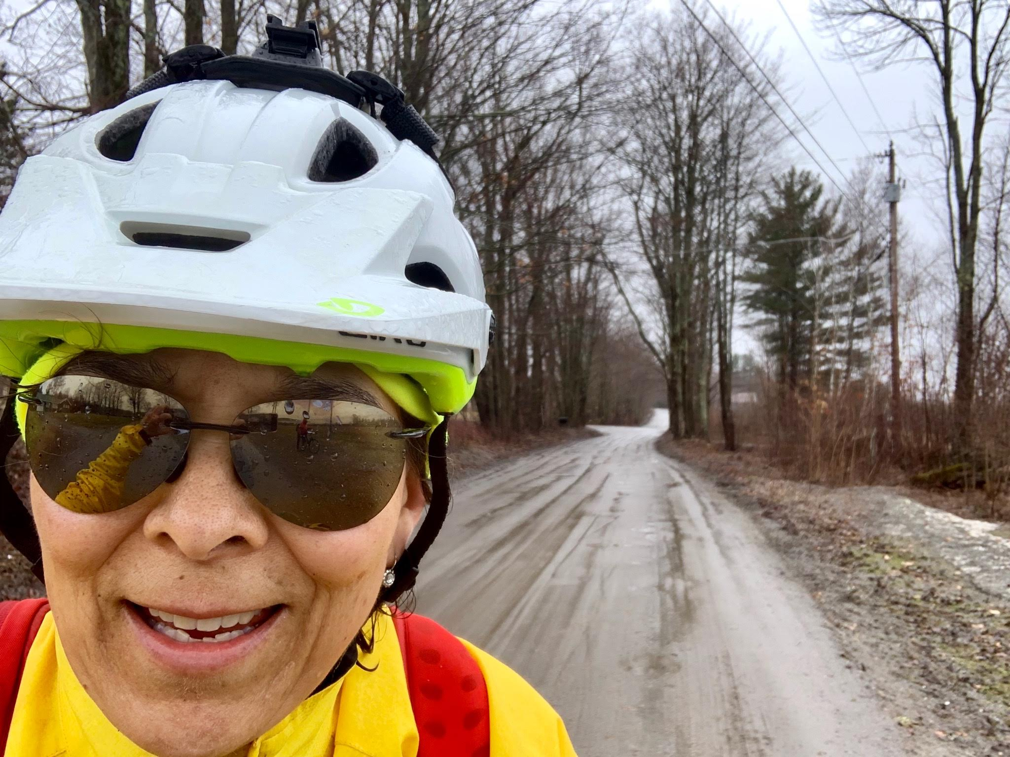 My friend, Janet Moore, in her first ever Gravel Grinder, Muddy Onion Spring Classic 2019. Yes folks, she's having fun in this picture.