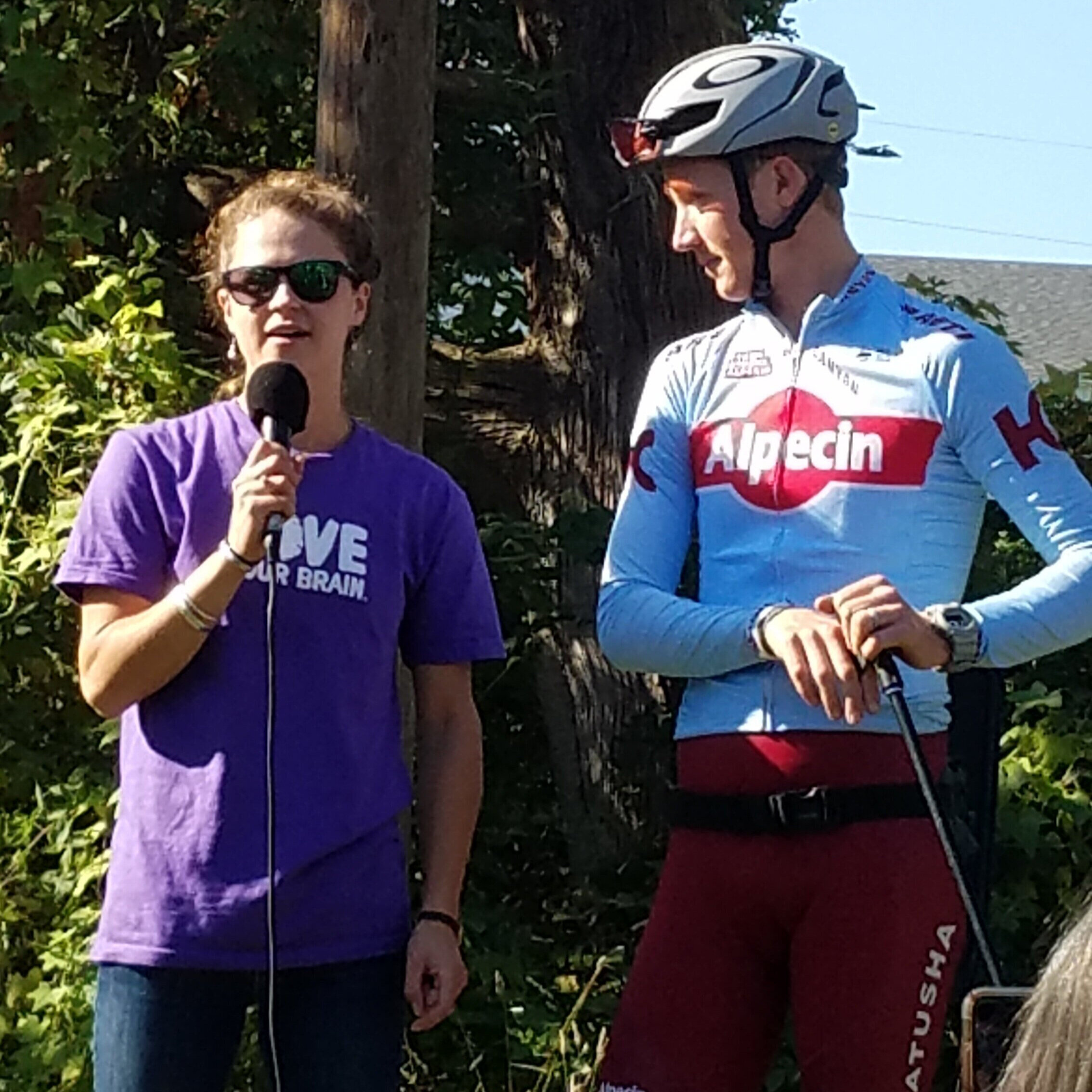 Gretchen Boswell and Ian Boswell, launching Peacham Fall Fondo on September 21, 2019.