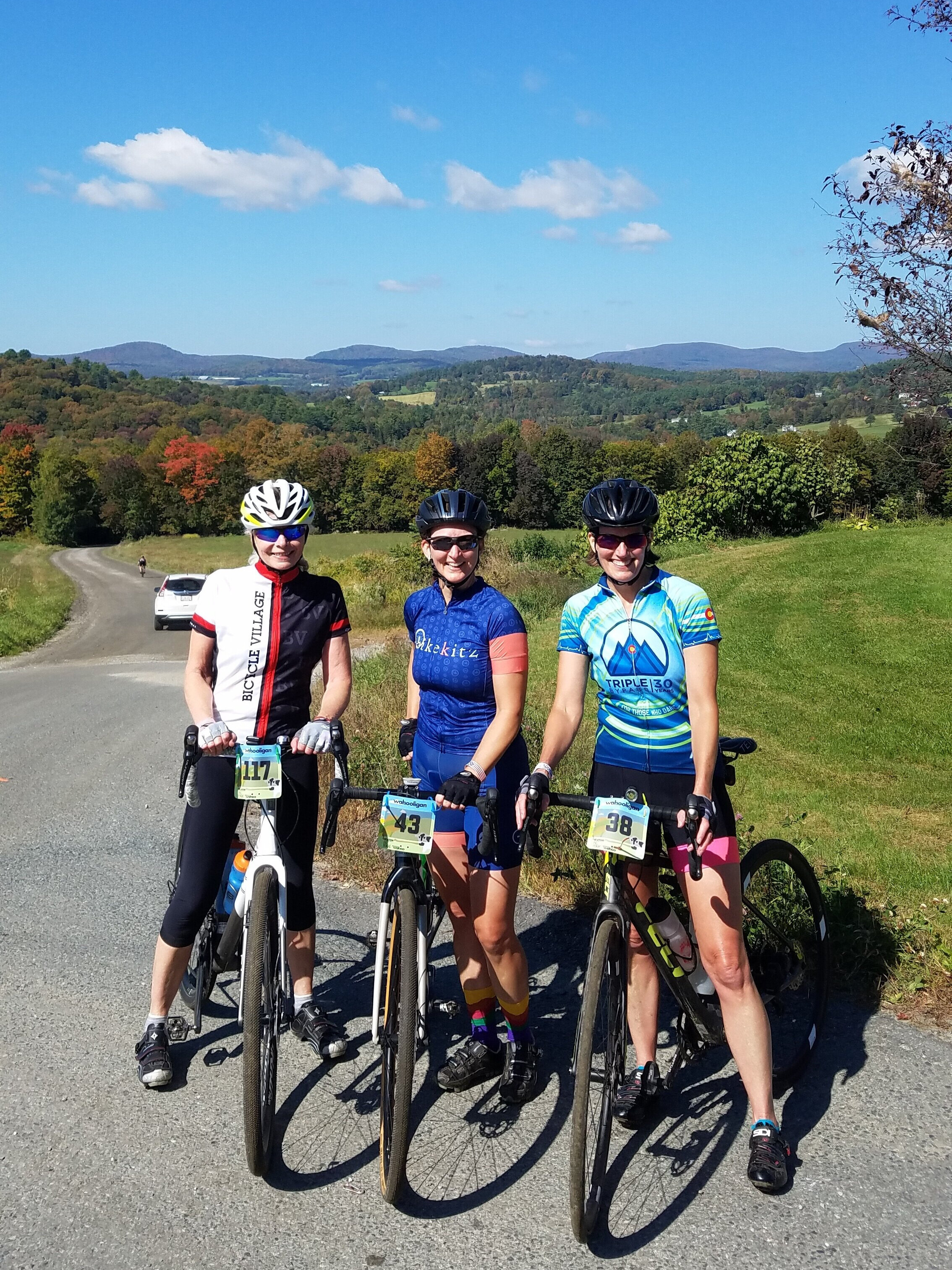 with ride friends Nancy McLean and Kathy Bennett