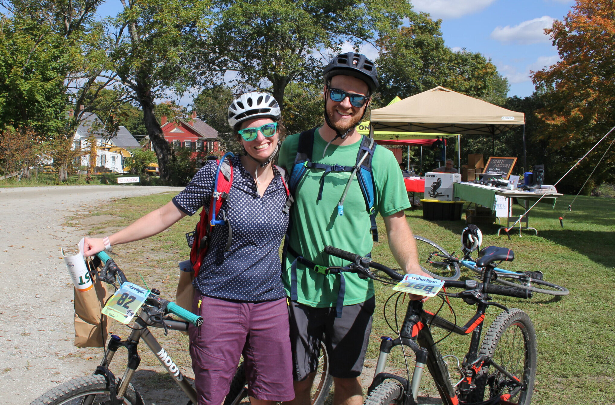 Liz and Dan, all smiles after riding PFF on their mountain bikes