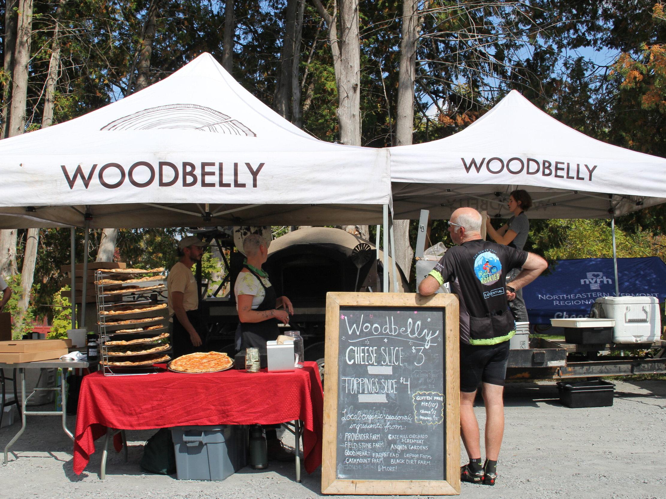 Riders received two free slices from  Woodbelly Pizza .