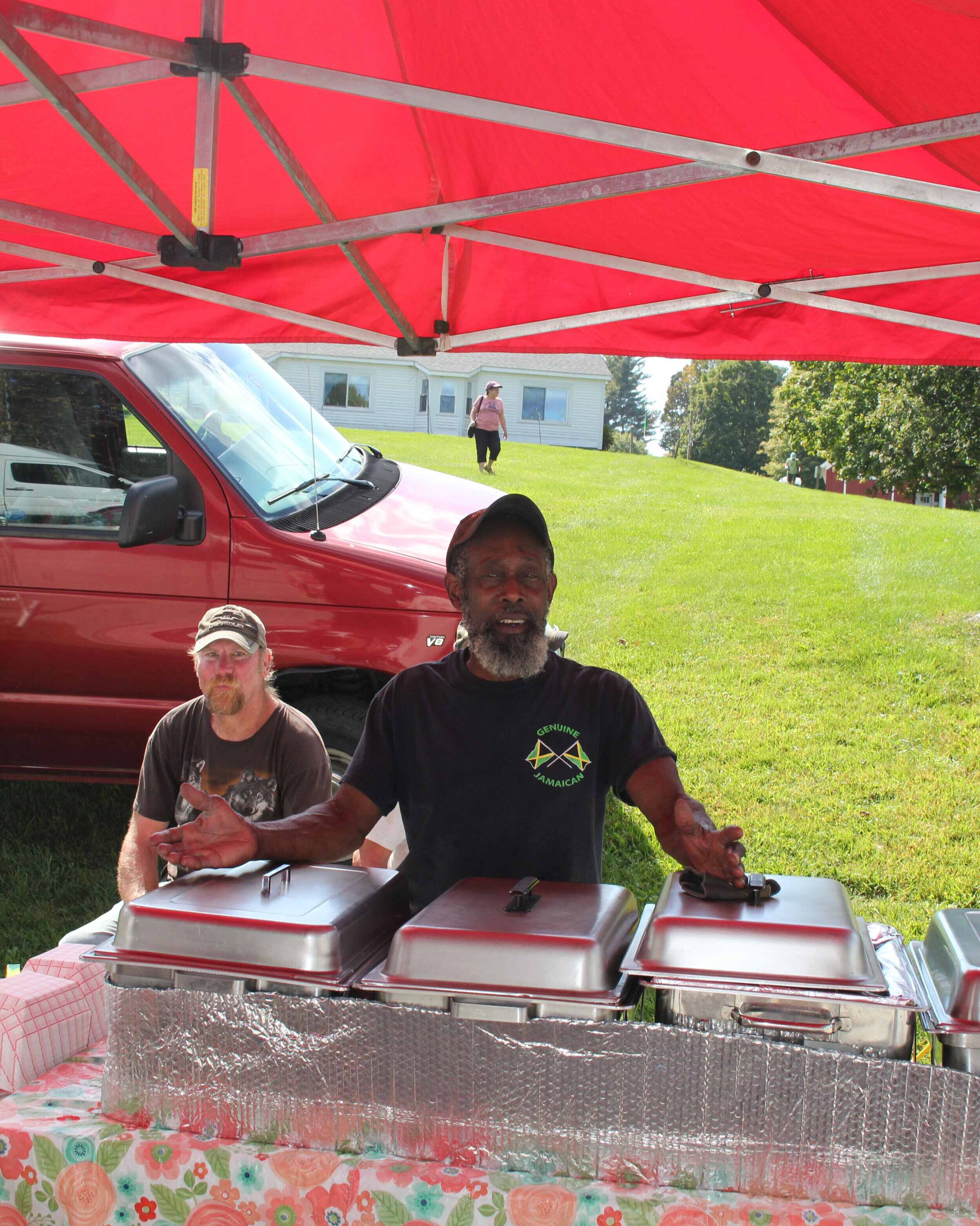Derrick of  Genuine Jamaican  in Barnet, Vermont, had jerk chicken and other choices on offer.