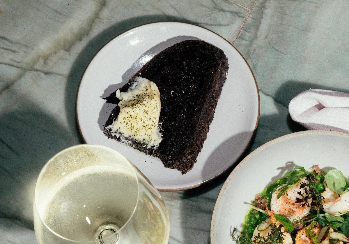 black bread with seaweed butter