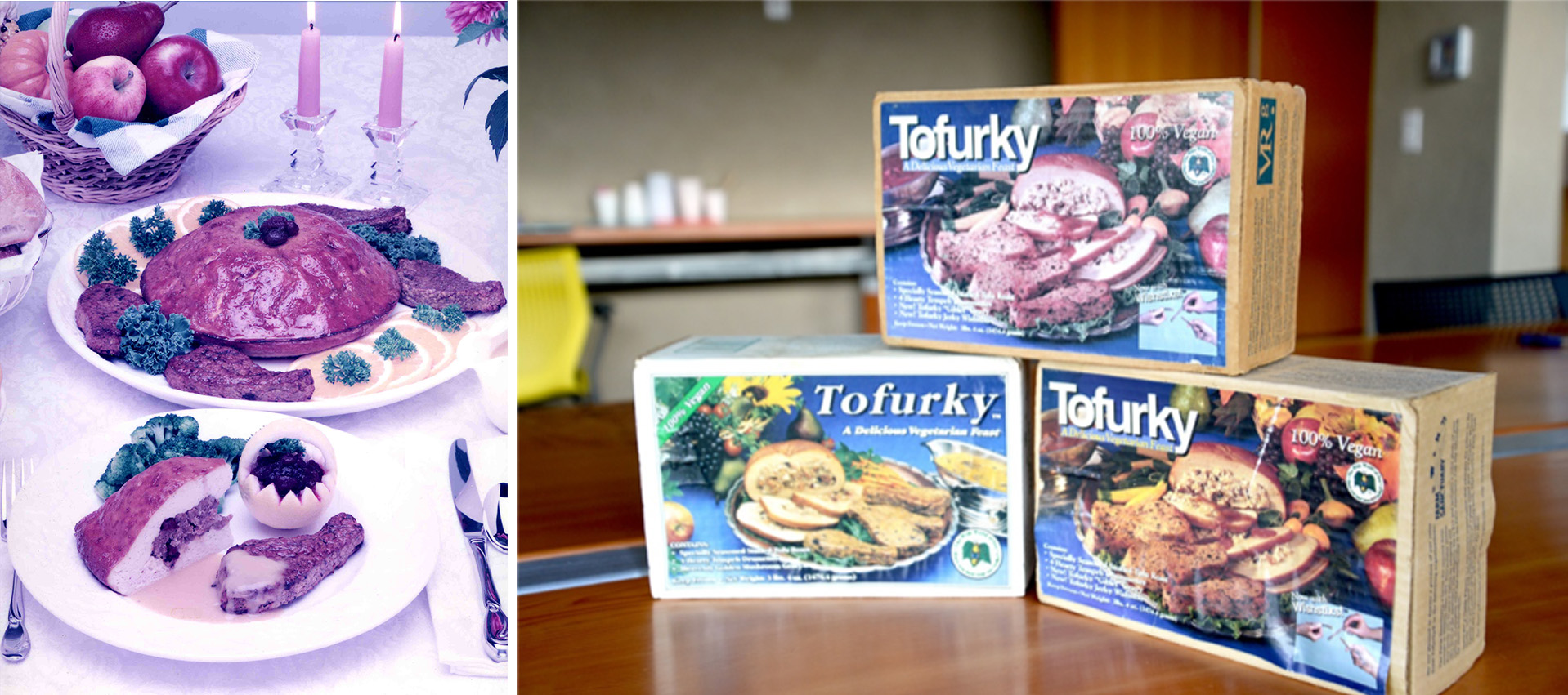 "Tofurky in the early days of plant-based meat. Notice the ""100% vegan"" labels prominently displayed in the top corner of the packaging."