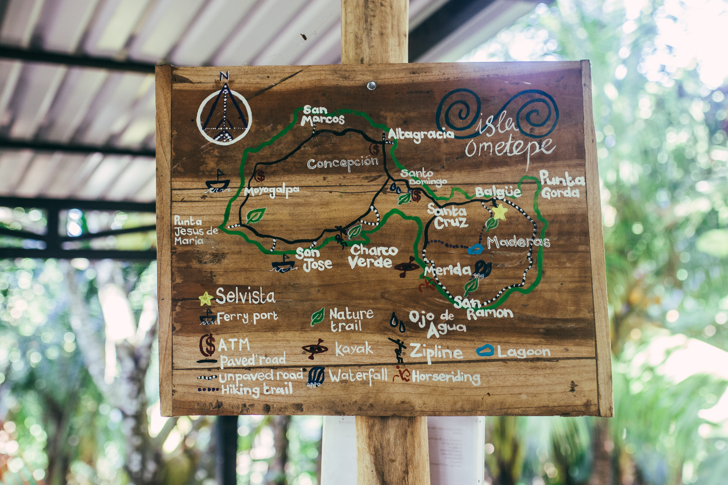 ometepe island map of things to do and turist highlights fromSelvista guesthouse