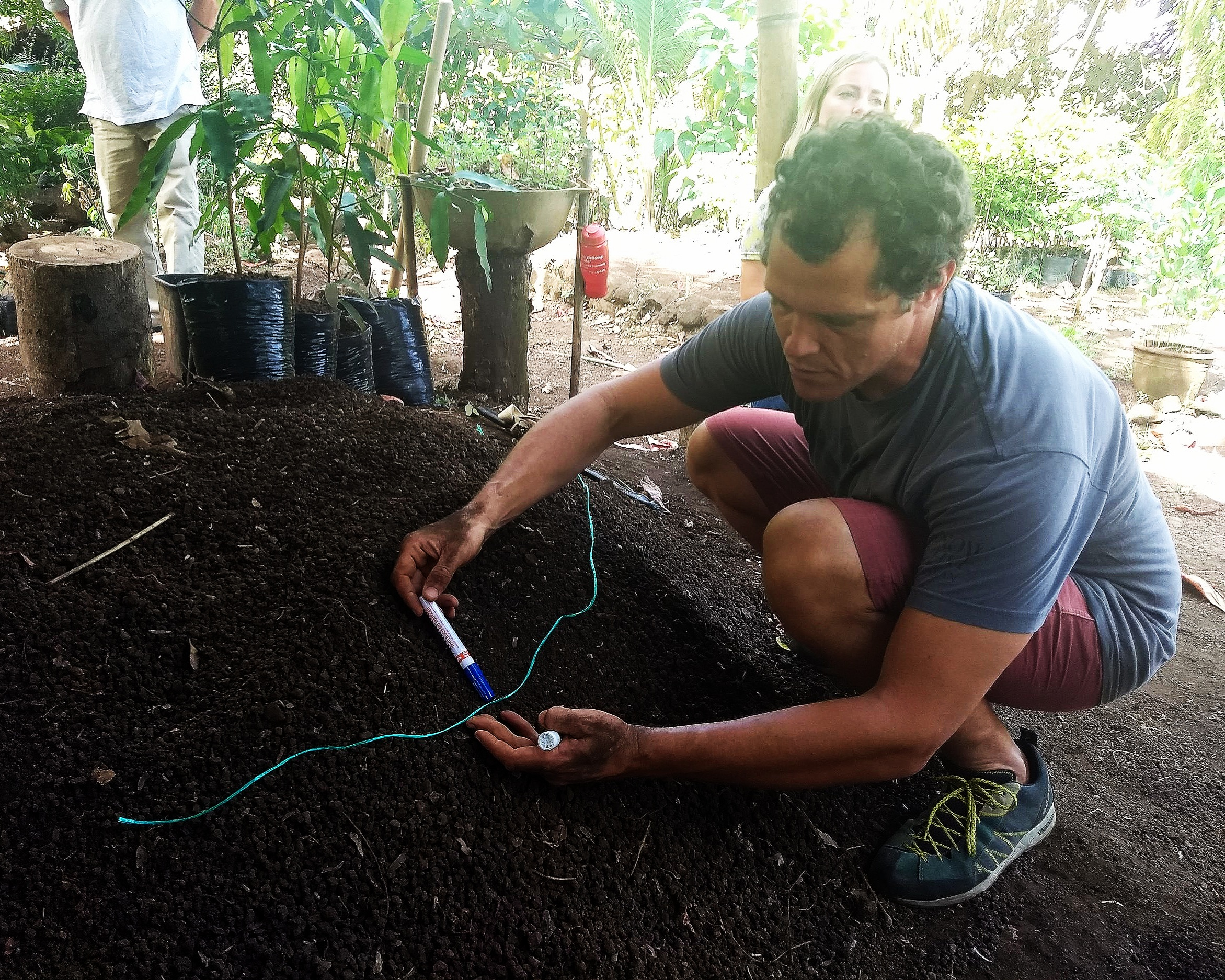 Chris demonstrating water run-off management and contour lines during the Permaculture Design Course 2019 on Ometepe