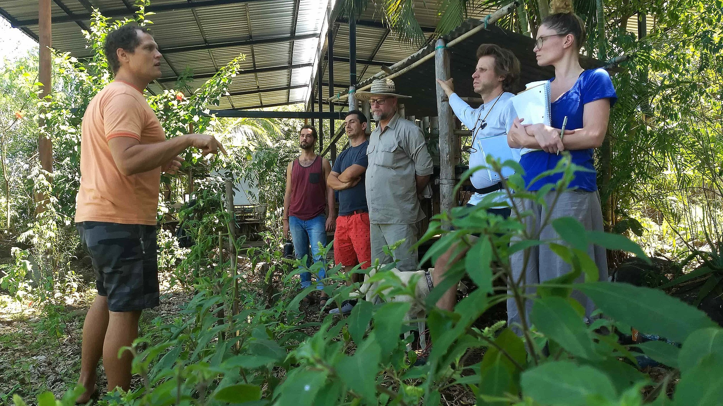 Chris Shanks demonstrating best permaculture planning practices in the field on Ometepe 2019