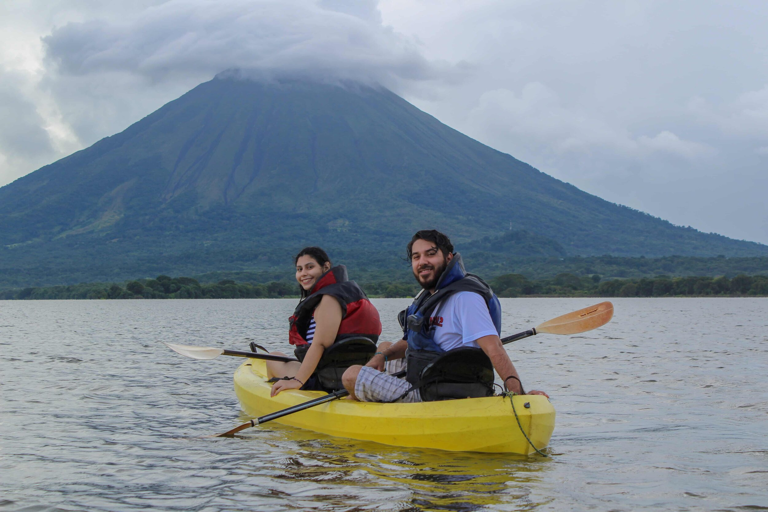 Double kayaks, kayak the istian, famly friendly adventure activities on Ometepe with friends, Volcano Views, Lake Cocibolca