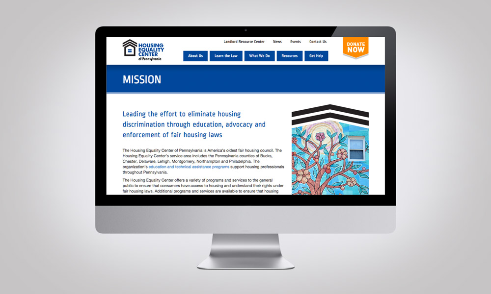Housing Equality Center's new website.