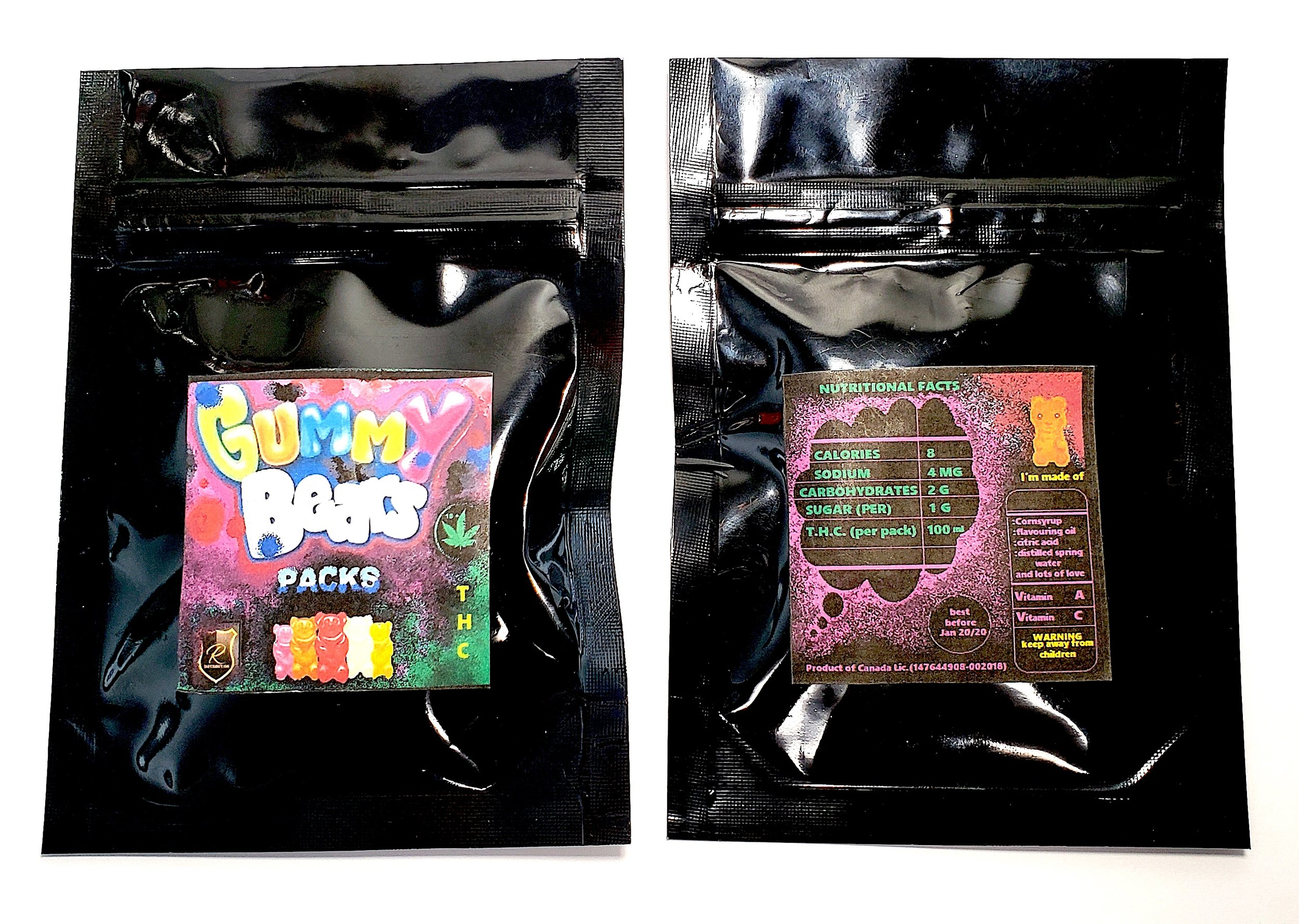 Gummy Bears - 100mg THC - $15 eachCrafted and packaged with care and compassion. Perfect for medicinal and recreational users looking for convenient and discreet doses. At 100mg/10 pieces per pack, consumers can enjoy more of a good thing while managing their day to day needs.