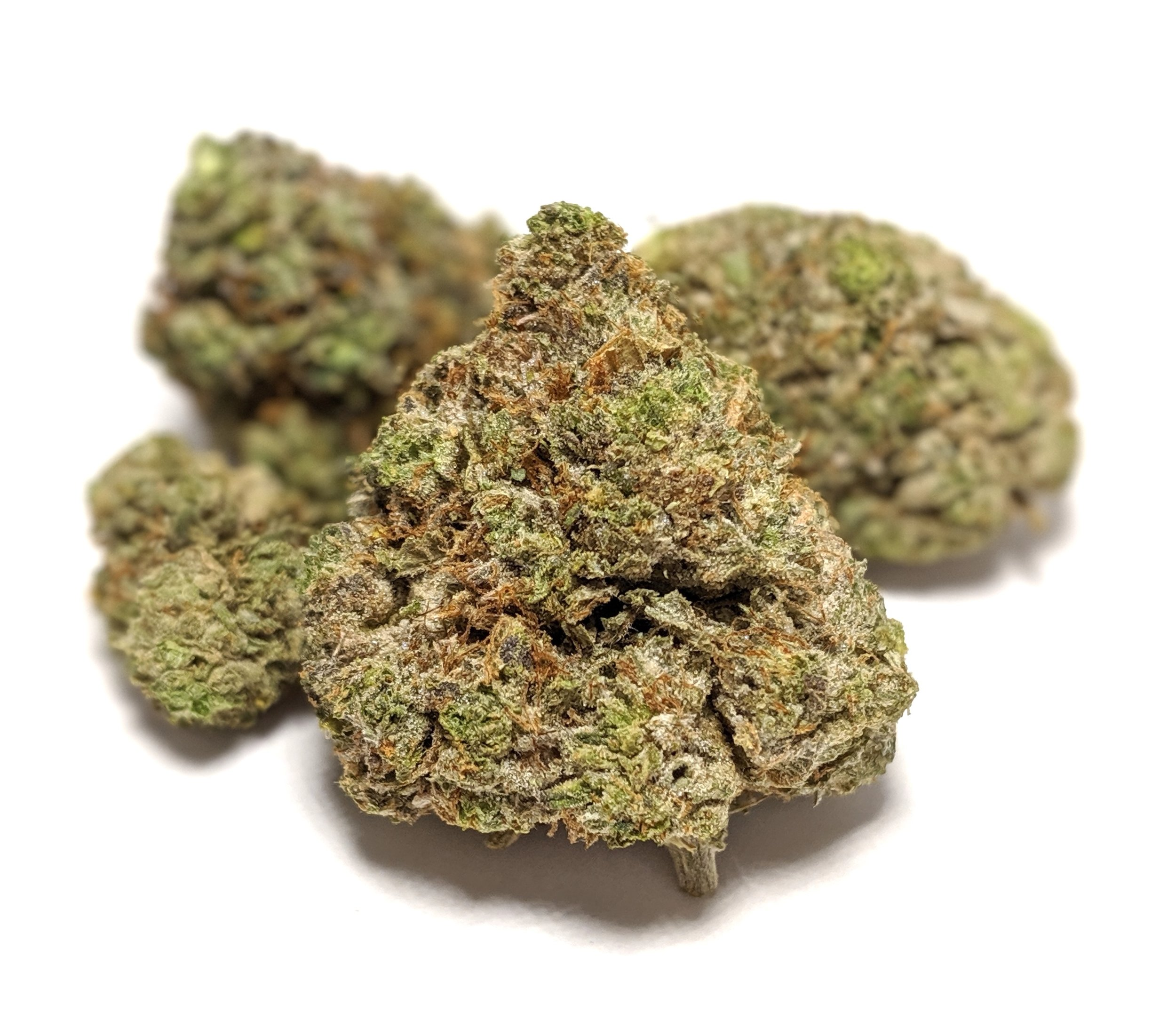 Pink Gas - Indica    1/4- $70 1/2-$120 OZ-$220   Pink Gas is the perfect strain for all indica lovers. A cross between Bubba Kush and a Pink Kush variant, this strain received its name for its diesel-like aroma and flavour profile. The indica-high provides users with a relaxing and sedating high that is great for treating insomnia and pain. Pink Gas boasts a higher than average THC concentration of 24% and is sure to keep you couch-locked.