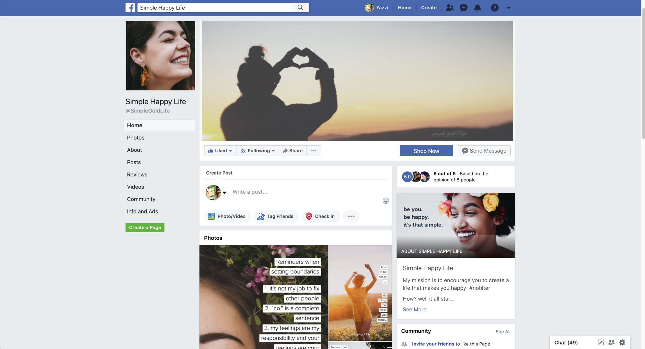 Simple Gold Life Facebook Page #facebookpagetips #facebookpagelikes #facebookpageforbusiness
