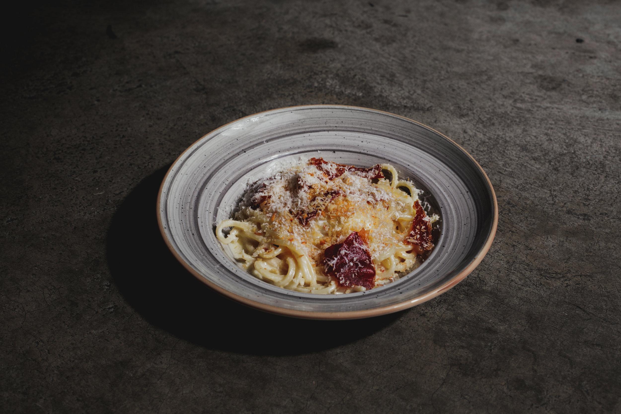 Chittara Ala Carbonara - Soft Boiled Egg, Truffle Cream, Ham Crumble, Parmesan
