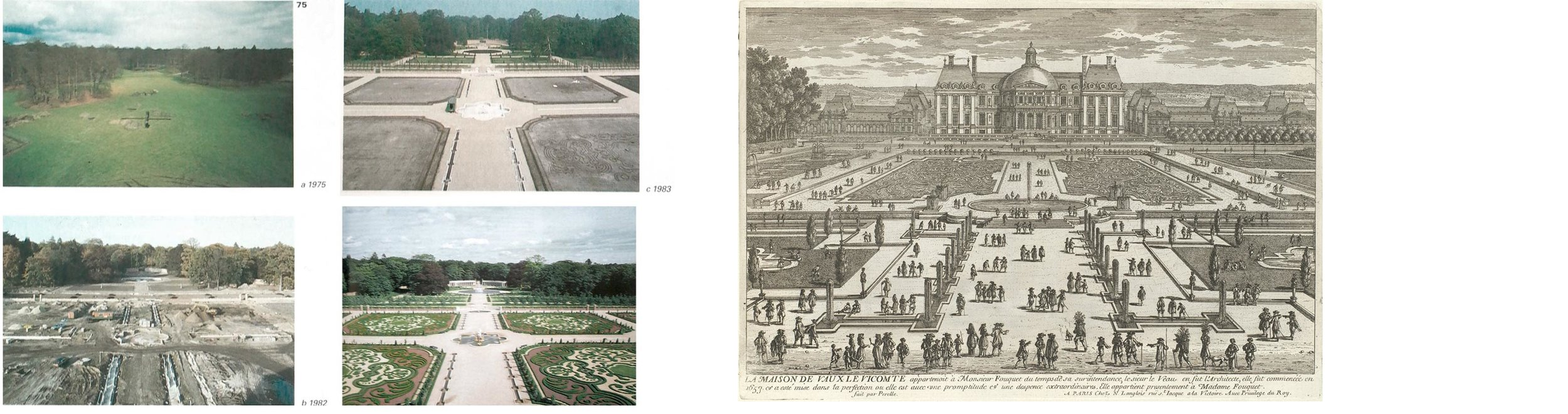 Rebuilding of the gardens of Het Loo, 1980 | Adam Perelle,  View of Vaux-Le-Vicomte , 1680