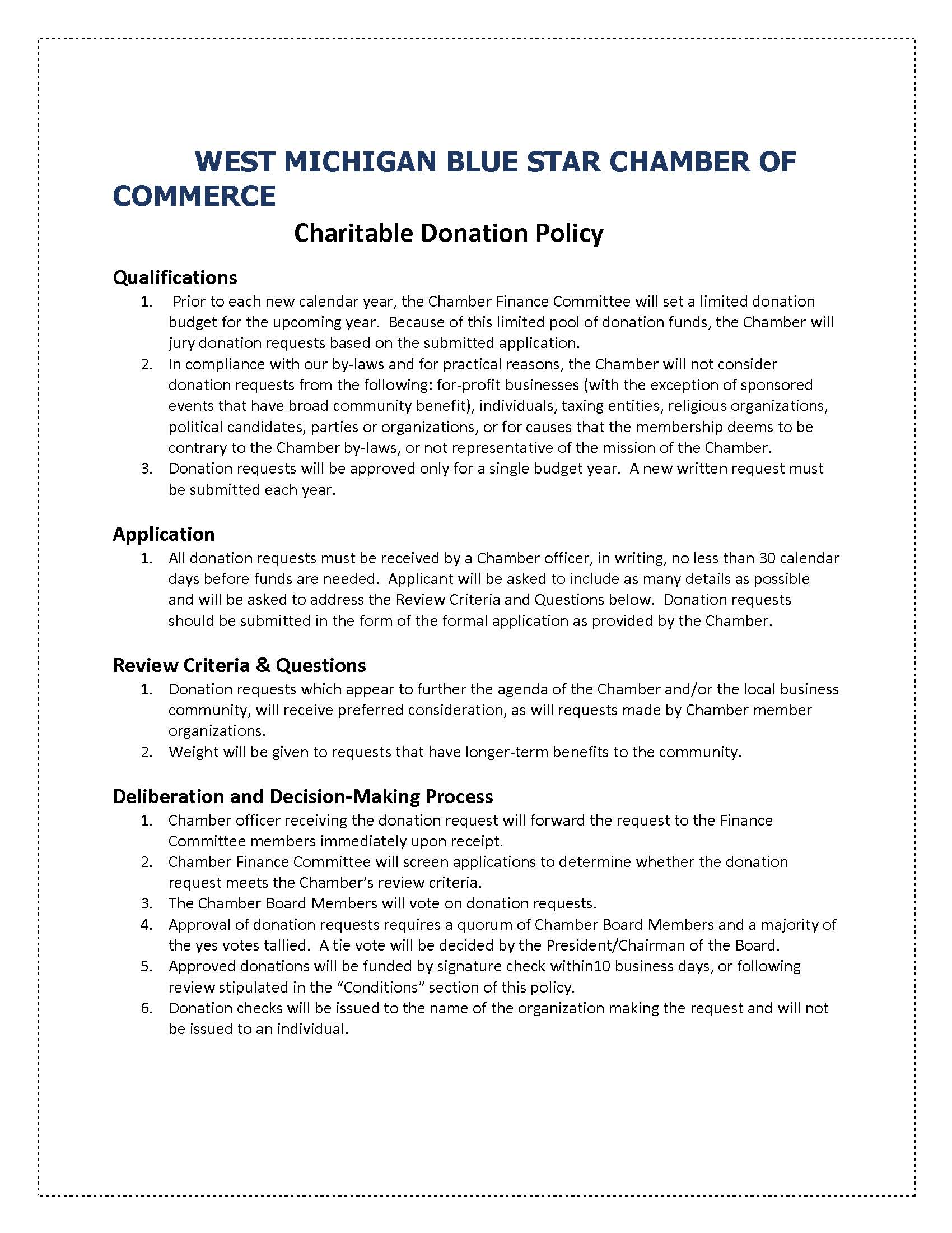 WEST MICHIGAN BLUE STAR CHAMBER OF COMMERCE Donor Policy.jpg