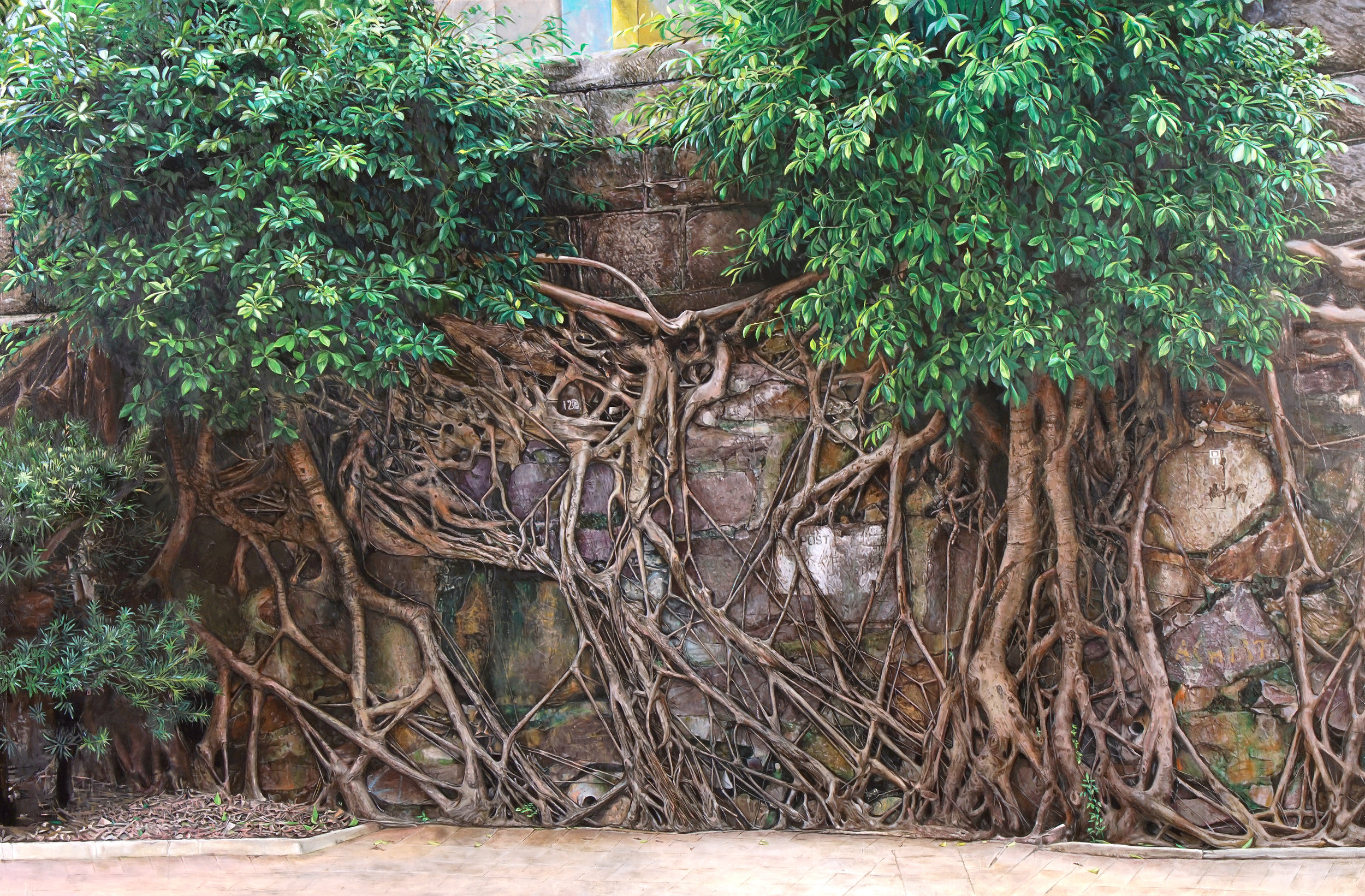 """""""Rooted in survival"""" Oil on canvas, 48 x 72 in"""
