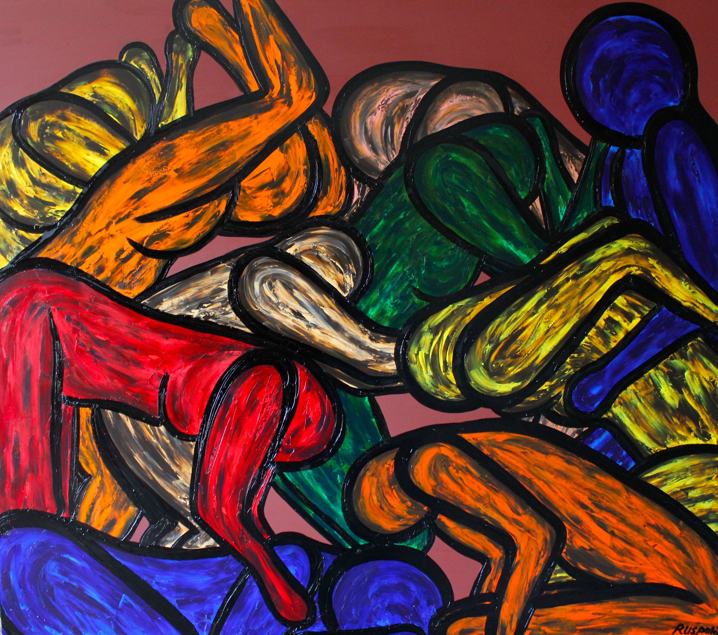 SLEEPING MOTHER, 77x67 inches