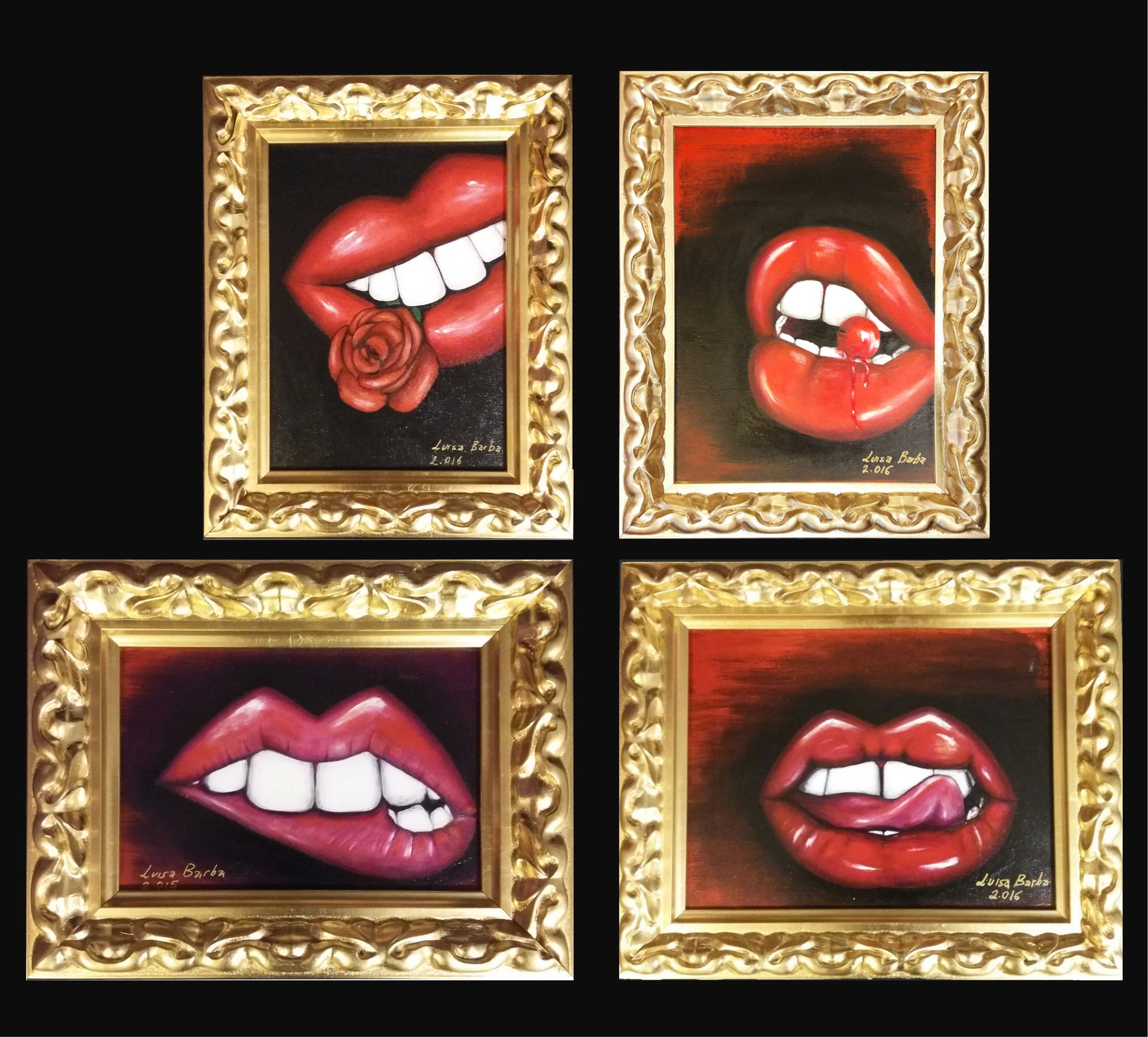 """Some of various lips collection of 11 lips pictures  Left to right and up to down: """"Labios con rosa"""" """" Labios cereza"""" """" Labios deseosos"""" """" Labios sabrosos"""""""