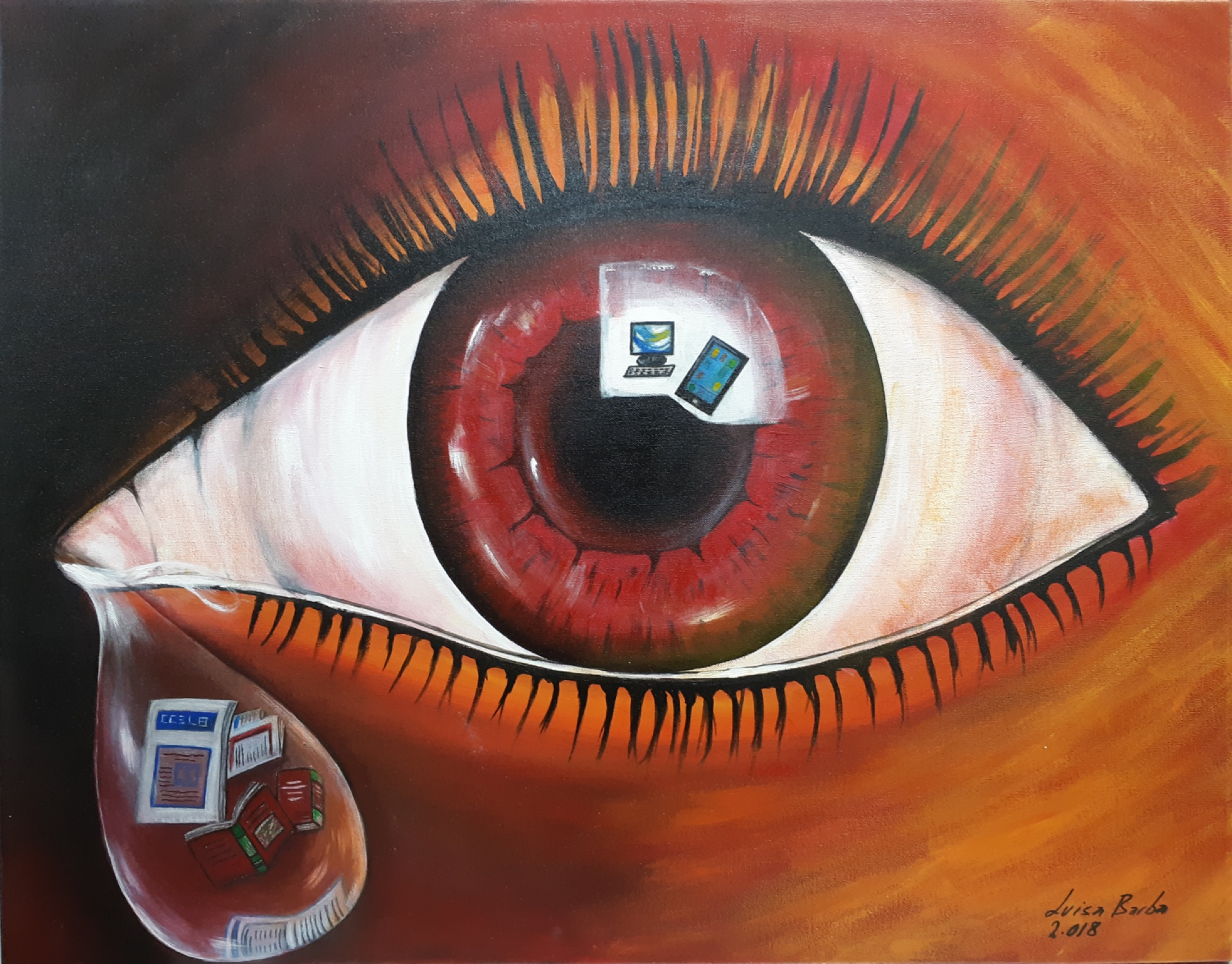 """ El ojo rojo"" 2.018 Acrilyc on canvas. Size without frame: 85 x 65cm"
