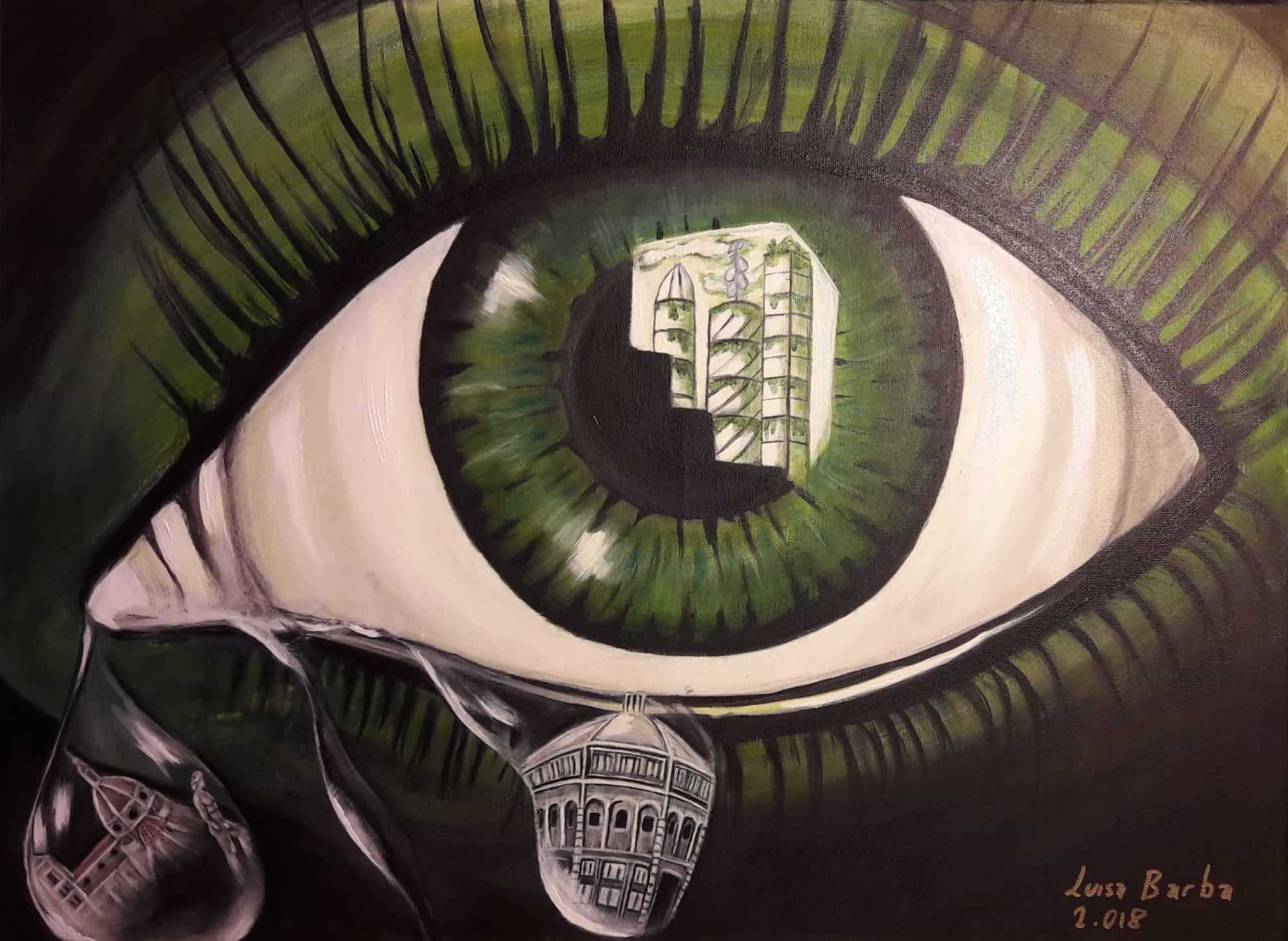 """""""El Ojo que todo lo ve"""" 2.018 Acrilyc on canvas, size without frame 85 x 65"""